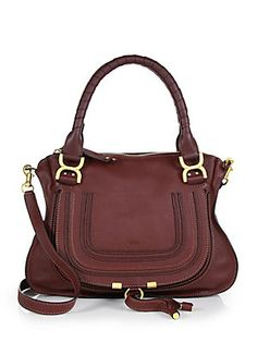 Chloe - Marcie Medium Satchel in Coffee leather.  Made in Italy.