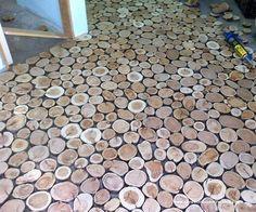 Cordwood Flooring by Sunny Pettis