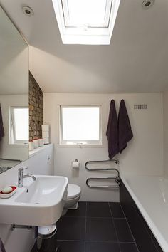 Credit: Michael Franke for the Guardian The small bathroom, complete with skylights, exposed brick and recessed lighting. Floor Design, House Design, Small House Renovation, Very Small Bathroom, Small Bathrooms, Modern Bathroom, Bathroom Sink Cabinets, Diy Bathroom Decor, Victorian Homes