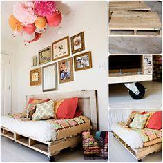 Improvisa una cama con palés, que para estas fechas quizás te haga falta...