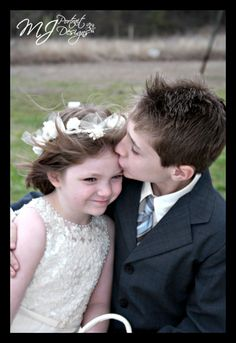 Little Boy Kissing Little Girl at Wedding Reminds me of a picture my dad took of me and JB way back in the day