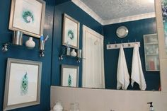 Swoon Worthy: The Transformative Power of Paint: Peacock Blue Bathroom Peacock Shower Curtain, Peacock Bathroom, Navy Bathroom, Wainscoting Bathroom, Bathroom Floor Tiles, Downstairs Bathroom, Bathroom Ideas, Bungalow Bathroom, Bathroom Organization