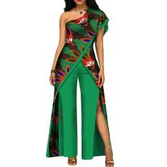 2017 new autumn African jumpsuit for women sexy off shoulder Jumpsuit dashiki clothing batik wax printing pure cotton African Fashion Ankara, Latest African Fashion Dresses, African Print Fashion, Women's Fashion Dresses, African Dashiki, Fashion Pants, Fashion Clothes, African Jumpsuit, African Dress
