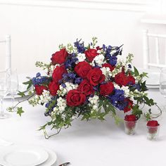 Centerpiece red white and blue welcome home for Red white blue flower arrangements