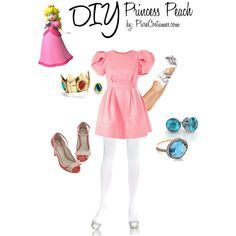 DIY Princess Peach  by purecostumes.com on Polyvore #Halloween #costumes  sc 1 st  Pinterest & Kristen Lanae - Princess Peach Cosplay - Super Mario Bros ...