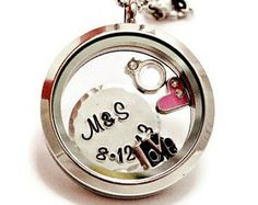Floating Charm Locket Like Origami Owl - Living Locket Necklace with Initials and Charms