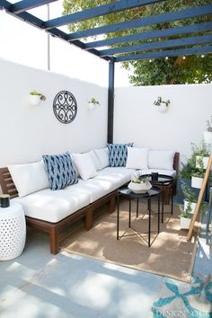 A Small Patio Makeover - The Design Souk White Garden Stools, Patio Furniture, Patio Furniture Cushions, Small Patio Design, Ikea Patio Furniture, Outdoor Decor, Patio Furniture Layout, Ikea Patio, Patio Design