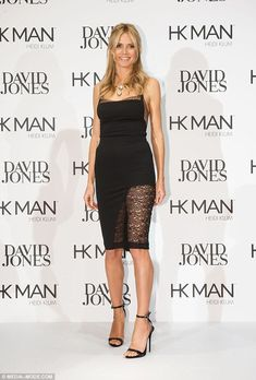 Racy in lace: Heidi Klum looked sensational in a daring dress that revealed a lot of leg at an event to promote her Heidi Klum Intimates and HK Man collections at David Jones department store in Sydney David Jones, Heidi Klum, Sheer Dress, Strapless Dress, Giuseppe Zanotti, Lingerie Collection, Star Fashion, Supermodels, Celebs