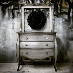 Aged Silver Metallic Paint on Vanity Dresser | Project by Pretty Used Things | Modern Masters