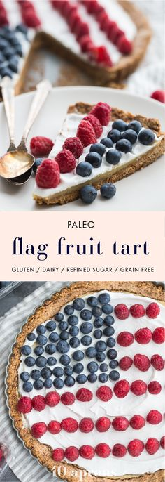 This paleo flag fruit tart is Fourth of July dessert perfection. With a coconut oil shortbread crust rich almond fangiapane filling and topped with cool coconut cream and fresh fruit you've got your paleo Fourth of July dessert covered. Why make a pale Paleo Dessert, Gluten Free Desserts, Healthy Desserts, Dessert Recipes, Paleo Sweets, Delicious Desserts, 4th Of July Cake, 4th Of July Desserts, Fourth Of July Food