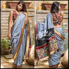 Beautiful neutral Grey...where so much of life hides. To all you lovers of Grey, this combination of art and comfort wins the day! Find it on our READY TO SHOP section here: www.houseofblouse.com #houseofblousedotcom #saree #semisilk #silk #grey #kalamkari #handpainted #pallu #love #chic #beautiful #blouse #readytoshop