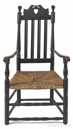 New England William and Mary banister back armchair, ca. with a heart cutout crest, retaining an old black surface. Primitive Furniture, Country Furniture, Antique Furniture, Painted Furniture, Old Chairs, Antique Chairs, Early American Furniture, Interior Design History, Painted Cupboards