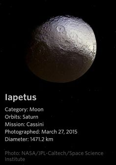 Iapetus - a Saturn Moon Space Planets, Space And Astronomy, Sistema Solar, Astronomy Pictures, Astronomy Facts, Moon Orbit, Saturns Moons, Planets And Moons, Space Facts