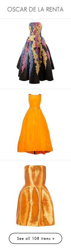 """OSCAR DE LA RENTA"" by mari-sv ❤ liked on Polyvore featuring dresses, black, gown, colorful dresses, sequin cocktail dresses, colorful cocktail dress, multi coloured dress, sequin embellished dress, orange and women clothing dresses"