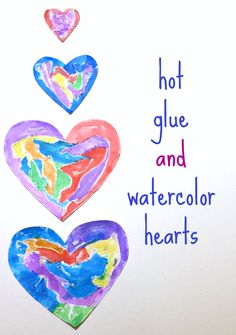 Hot glue guns and watercolors make amazing art together, check out these heart Valentine's Day crafts.