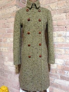 J.Crew Double Breasted Green Tweed Jacket 6 Removable Collar Wool Trench Coat S #JCrew #BasicCoat #ebay #fashion #lovely #alldressedup #fashionforsale