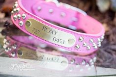 Pink Studded Leather Dog Collar Pink Leather Dog by kippyandco, $43.00