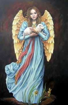 Vintage Inspired Angel with Lamb. Fast S&H by OurCraftAddictions Angel Artwork, Angel Guide, Paint Prices, Angel Pictures, Angels Among Us, Angels In Heaven, Guardian Angels, Christian Art, Op Art