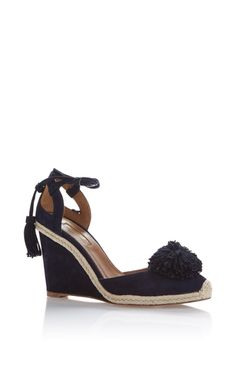aquazzura navy sunshine wedged espadrille