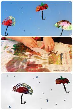 Fensterbild Hei Luftballon Und Regenschirme Selber Basteln
