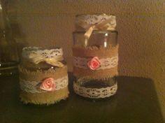 lieve brocante/landelijke waxinehouders! Gemaakt van lege glazen potjes!