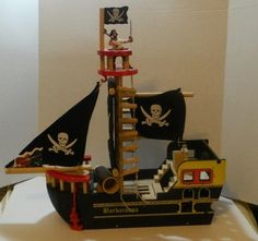 WOODEN PIRATE SHIP - BARBAROSA  by PAPO  with ACCESSORIES Excellent #PAPO