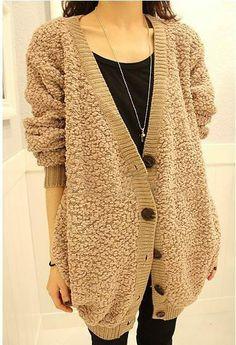 Fashion V-Neck Long Sleeves Heavy Khaki Cardigan For Women (KHAKI,ONE SIZE) | Sammydress.com