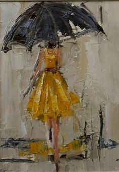 Lady in yellow with umbrella