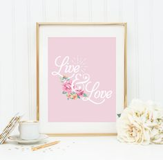 **FREE SHIPPING**  Vintage Live & Love Typography Poster.  This print will be lovely in a home or office space, or even as a gift, and will add a