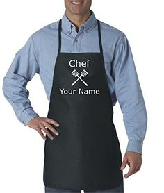 Personalized Chef's Cooking Apron for Men Kitchen, BBQ Grill | Breathable, Comfortable Fabric | Funny Custom Designs, 2 Front Pockets | Machine Washable Get a Little Messy - These premium kitchen aprons are crafted with a cotton twill/polyester blend, making them durable and great for cooking clothes clean. Great Customizable Gift - Each bistro apron can be personalized with your specific name or words, making them a great gift for BBQ lovers and kitchen chefs alike! Dual F