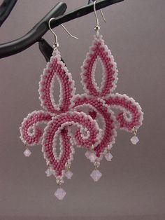 Beadwoven FleurDeLis Style Earrings in by MoonWillowJewelry, $26.00