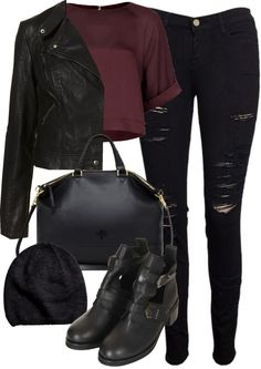 Untitled #443 by marieswardrobe featuring a black beanie hat  Topshop short sleeve top / Topshop black velvet jacket / Frame Denim black ripped skinny jeans / Topshop black cut out booties, $115 / Mulberry black leather handbag / H M black beanie hat, $6.55