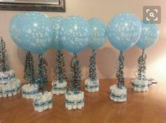 Baby shower boy decoration ideas baby boy shower centerpieces for tables centerpiece baby shower ideas for . Baby Shower Azul, Idee Baby Shower, Mesas Para Baby Shower, Diaper Shower, Shower Bebe, Baby Shower Diapers, Girl Shower, Baby Shower Favors, Shower Party