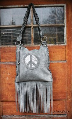 Peace sign leather grey suede festival hippi  pixie by Caramelka, $99.00