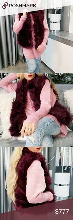 FAUX FUR VEST Brand new  BOUTIQUE ITEM PRICE IS FIRM  GRAB THIS FABULOUS EYE CATCHING FAUX FUR VEST FOR YOUR WARDROBE! STUNNING PURPLISH BURGUNDY, with pockets.  Faux fur 90%acrylic 10% polyester  lining 100% polyester . Jackets & Coats Vests