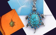 Silver Turtle Lucky Pendant with Topaz & Turquoise from CamelysUnikatBijoux by DaWanda.com