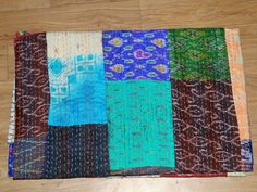 Authnic Indian Vintage Quilt Patola Indian Silk Sari Kantha Quilted Patchwork #Handmade #Asian