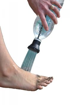 Simple Shower - Portable Camping Shower - Camping Shower uses 2 liter bottle