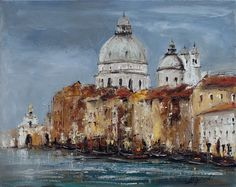 We present: Old Town - Marek Langowski. One of the many paintings by Marek Langowski. Colorful Drawings, Watercolor Art, Venice, Gallery, Paintings, Artists, Porcelain Ceramics, Scenery, Flowers