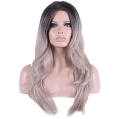 Gray Middle Part Heat Resistant Ombre Long Wavy Cosplay Wig (£24) ❤ liked on Polyvore featuring beauty products, haircare, hair styling tools, hair and grey