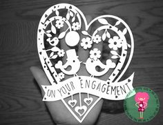 Engagement Papercut Template, SVG / DXF Cutting File For Cricut / Silhouette & PDF Printable Cut Your Own File, Download, Commercial Use Ok by DigitalGems on Etsy