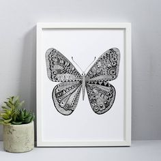 monochrome butterfly print by karin Åkesson design | notonthehighstreet.com