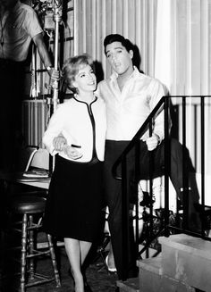 "Elvis and co-star, Joan O'Brien on location of film ""It Happened At The World's Fair"" 1963"