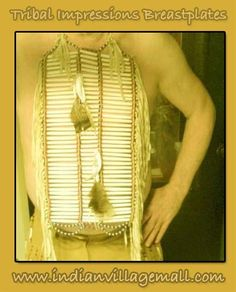DELUXE MEDICINE MAN PIPE BONE  BREAST PLATE WITH FRINGE, FEATHERS AND CARVED BONE CLAW- Review the Tribal Impressions Breastplate collection off of: http://indianvillagemall.com/dreamcatchers/breastplates.html