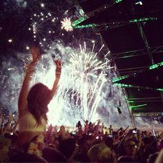 Fireworks during Krewella at EDC Vegas 2013