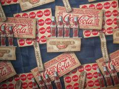 Vintage Rare 1995 Coca Cola Coke Retro Old Style Nostalgic Coke Bottle Caps Red Navy Blue Biege Cotton Fabric Pristine Condition 100%