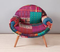 Can we talk about how perfect this chair is? | Smiley Patchwork Armchair Indian Kantha Quilt by namedesignstudio, $1500.00