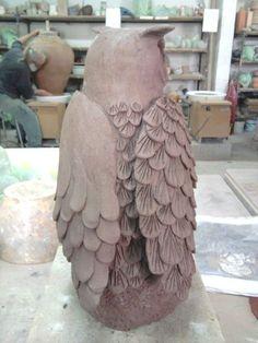 Grand Duc ,céramique,modelage, terre, raku, animaux,sculpture,création, mes5éléments, argile, hibou, chouette, art (3)