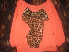 Women's The Rage Boutique Leopard Bow Back Top Size M   eBay