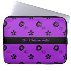 Funky Purple and Black Flowers Laptop Sleeve